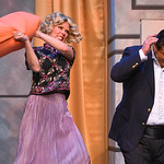 "Justin Sheely | The Sheridan Press Erin Krantz, as the jealous wife, hits Darrell White, as the famous Tito Merelli, during a full dress rehearsal for the WYO Theater Gala: ""Lend Me a Teno ..."
