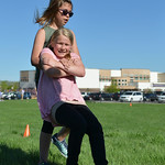 Justin Sheely | The Sheridan Press Fourth-grader Madyson Gammel drags Sophia Beld during a Marine combat Fitness test at Woodland Park Elementary School Wednesday, May 16, 2018. SCSD2 health ...
