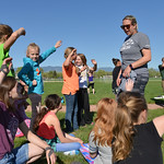 Justin Sheely | The Sheridan Press SCSD2 health and physical education teacher Jessica Pickett speaks to a group of fourth-grade girls during a Marine combat Fitness test at Woodland Park El ...