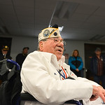 Justin Sheely | The Sheridan Press Pearl Harbor Survivor Mel Heckman speaks to The Sheridan Press at the Sheridan County Airport Malcolm Wallop Terminal Thursday morning on his flight to Haw ...