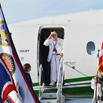 Justin Sheely | The Sheridan Press Pearl Harbor survivor Mel Heckman salutes the honor guard assembled on the tarmac after returning from his visit to Honolulu, Hawaii Friday at the Sheridan ...