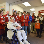 Justin Sheely | The Sheridan Press Pearl Harbor survivor Mel Heckman addresses the veterans, friends and community members gathered there to welcome him home at the Sheridan County Airport.  ...