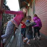 Justin Sheely | The Sheridan Press Alice Russell plays outside Sheridan Absaroka Head Start at the Historic Train Depot Tuesday, April 24, 2018.