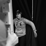 Justin Sheely | The Sheridan PressFreshman Pyper Tiffany holds back the curtain as students move a flat during set construction at Sheridan High School Saturday, Feb. 17, 2018. The musical ...