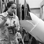 "Justin Sheely | The Sheridan PressSenior Katie Bammel paints a column during set construction at Sheridan High School Saturday, Feb. 17, 2018. The musical performance of ""The Boyfriend,â ..."