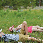 Justin Sheely | The Sheridan Press Thirteen-year-old Camden Schroth, front, and Rosie Schroth, 12, lay on their backs as Game Warden Bruce Scigliano leads the group in a breathing and medita ...