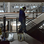Justin Sheely | The Sheridan Press A visitor walks down the stair with a flashlight during a power outage Tuesday morning at the Sheridan County Fulmer Public Library. Much of downtown Sheri ...