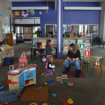 Justin Sheely | The Sheridan Press Kids play in the Children's Library during a power outage Tuesday morning at the Sheridan County Fulmer Public Library. Much of downtown Sheridan was wit ...