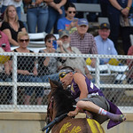 Justin Sheely | The Sheridan Press J'Ree old Bull exchanges horses in the World Champion Indian Relay race during the Sheridan WYO Rodeo at the Sheridan County Fairgrounds Saturday, July 1 ...