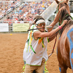 Ashleigh Snoozy | The Sheridan PressShoshone Tillman Team jockey Jared Cerino prepares to hop on his next horse during the first consolation for the World Championship Indian Relay race Satu ...