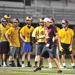 Bud Denega | The Sheridan PressBig Horn football head coach Kirk McLaughlin goes over a drill during the Rams' Midnight Madness, which kicked off the fall practice season.