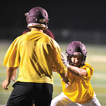 Bud Denega | The Sheridan Press Kade Eisele goes through a drill during the Rams' Midnight Madness, which kicked off the fall practice season, at Big Horn High School Monday, August 13, 20 ...