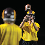 Bud Denega | The Sheridan Press Quinn McCafferty eyes a ball during the Rams' Midnight Madness, which kicked off the fall practice season, at Big Horn High School Monday, August 13, 2018.