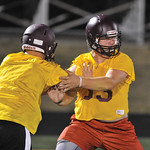 Bud Denega | The Sheridan Press Seth Mullinax goes through a drill during the Rams' Midnight Madness, which kicked off the fall practice season, at Big Horn High School Monday, August 13,  ...