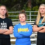 Bud Denega | The Sheridan PressJadyn Mullkin, left, Taylor Baldacci, center, and Piper Carroll are the three seniors on the Sheridan High School girls swim team this season.