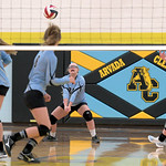 Matthew Gaston | The Sheridan PressArvada-Clearmont's Kailei Beam (28) comes up with the dig against Midwest Friday, Oct. 18, 2019.