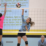 Matthew Gaston | The Sheridan PressArvada-Clearmont's McKenna Auzqui (21) makes the kill against Midwest Friday, Oct. 18, 2019.