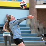 Matthew Gaston | The Sheridan PressArvada-Clearmont's Shelby Fennema (11) bumps the ball to setter Krista Malli during the match against Midwest Friday, Oct. 18, 2019.