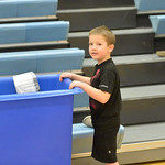 Ryan Patterson | The Sheridan PressFive-year-old Riggs Walker helps clean up after a game against Ten Sleep at Arvada-Clearmont High School Saturday, Jan. 19, 2019. The Panthers lost to the ...