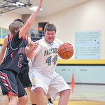Matthew Gaston | The Sheridan PressArvada-Clearmont's Nick Sandefur (44) drives into the paint against Hulett Saturday, Jan. 25, 2020.