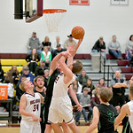 Matthew Gaston | The Sheridan PressBig Horn's Cutler Bradshaw (22) scores two then goes to the line for an additional shot against Moorcroft Friday, Jan. 24, 2020.