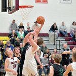 Matthew Gaston | The Sheridan PressBig Horn's Cutler Bradshaw (22) scores two from the post and draws the foul against Moorcroft Friday, Jan. 24, 2020.