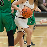 Tibby McDowell | The Sheridan Press  Jenny Trabert finds a hole in the Wolves defense and fires a shot at Big Horn High School Friday Feb 2, 2018.  The Lady Rams handily beat the Wolves 46-2 ...