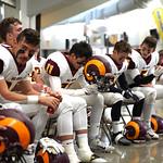 Matthew Gaston | The Sheridan PressBig Horn's James Richards (11) mentally prepares for the big game Saturday, Nov. 16, 2019.