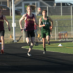 Matthew Gaston | The Sheridan PressBig Horn's Blake Billings takes the lead durig the 100-meter at the meet against Tongue River Thursday, April 18, 2019.