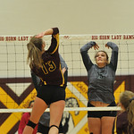 Ryan Patterson | The Sheridan Press Big Horn's Sydney Schmidt hits the ball while Tongue River's Morgan Warren goes for a block at Big Horn High School Saturday, Sept. 22, 2018. Big Horn ...