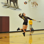 Ryan Patterson | The Sheridan Press Big Horn's Cheyann Price serves against Tongue River at Big Horn High School Saturday, Sept. 22, 2018. Big Horn defeated Tongue River 25-18, 25-22, 25-1 ...