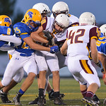 Justin Sheely | The Sheridan Press The Plainsmen are stopped by Sheridan's defense during the season opener against Laramie Friday night on Scott Field at Sheridan High School. The Broncs  ...