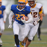 Justin Sheely | The Sheridan Press Matthew Willey drives the ball against the Plainsmen during the season opener against Laramie Friday night on Scott Field at Sheridan High School. The Bron ...