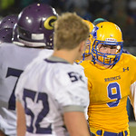 Justin Sheely | The Sheridan Press Sheridan's Hayden Hastings and the Broncs line up to shake hands at the end of the fourth quarter during the rivalry game against Gillette Friday night a ...