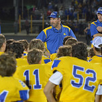 Justin Sheely | The Sheridan Press Head coach Don Julian talks to the Broncs after falling to Gillette Friday night at Scott Field in Sheridan. Turnovers plagued the Broncs, Camels won 24-21 ...