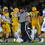 Justin Sheely | The Sheridan Press Officials indicate a Gillette turnover after Sheridan fumbles the ball during the rivalry game against Gillette Friday night at Scott Field in Sheridan. Tu ...