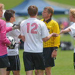 Justin Sheely | The Sheridan Press Cheyenne Central players argue with the referee after a penalty kick is called during the class 4A state tournament Saturday at the Big Horn Equestrian. Th ...
