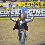 Bud Denega | The Sheridan Press Sheridan College's Chance Ames pumps up the crowd after riding Bunny Girl in the short round of bareback riding during the College National Finals Rodeo at  ...
