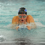 Taylor Baldacci swims the breaststroke in the 200-meter medley relay during the Sheridan Invite on Saturday, Sept. 23 at Sheridan Junior High School. Mike Pruden | The Sheridan Press