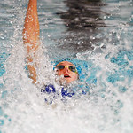 Jadyn Mullikin swims the backstroke leg of the 200-meter medley relay on Saturday Sept. 23 at Sheridan Junior High School. Mullikin and her relay team won the race and set a new school recor ...