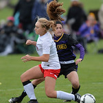 Justin Sheely | The Sheridan Press Campbell County's Kennedy Schomer, back passes the ball against Cheyenne Central's Molly Black during the girls class 4a State Championship semifinals  ...