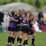 Justin Sheely | The Sheridan Press Campbell County girls, from left, Grace Roswadovski, Baylee Hamlin, Kennedy Ayers and Delaney Hallcroft celebrate their first goal against Cheyenne Central ...