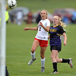 Justin Sheely | The Sheridan Press Cheyenne Central's goalkeeper blocks a shot by Campbell County's Emma Jarvis, right, as Central's Kieli Stults looks on during the girls class 4a Sta ...