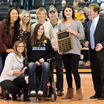 Justin Sheely | The Sheridan Press Former Sheridan College Women's Basketball player Lindsay Heimkes, center, presents her Inspiration Award to Lady General Quriss Romero, right, as womenâ ...