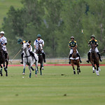 Joel Moline | The Sheridan Press Polo players try to locate the ball underneath Paige McCabe's horse during the Moncreiffe Cup Final July 27.