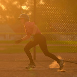Justin Sheely | The Sheridan Press Makayla Scanlon runs to first during the Sheridan Recreation District's 6 – 8th grade Pony League girls softball championship game Wednesday at Oatts F ...