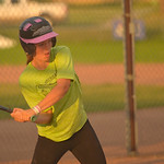 Justin Sheely | The Sheridan Press Woodland Park Storage player Ashley Billings swings at the ball during the Sheridan Recreation District's 6 – 8th grade Pony League girls softball cham ...
