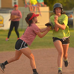 Justin Sheely | The Sheridan Press Jadyn DeTavernier tags out Katie Dahl during the Sheridan Recreation District's 6 – 8th grade Pony League girls softball championship game Wednesday at ...