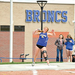 Matthew Gaston | The Sheridan PressSheridan's Jordan Christensen throws for a distance of 41 feet and seven and half inches during the regional track meet Friday, May 10, 2019.