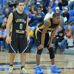 Sheridan College guards Celio Araujo, left, and Xavier Jackson look on as a teammate shoots a late free throw in the Generals' win over Gillette College on Wednesday, Jan. 11 at the Prongh ...